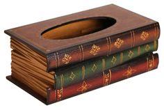 Amazon.com - Claybox Elegant Hand Crafted Wooden Scholar's Antique Book Tissue Box Dispenser - Tissue Holders