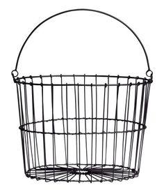 One Kings Lane - VMF - Decorative Accessories - Large Wire Egg Basket Wire Egg Basket, Metal Baskets, Storage Baskets, Wire Storage, Towel Storage, Decorative Accessories, Home Accessories, H & M Home, Black Basket