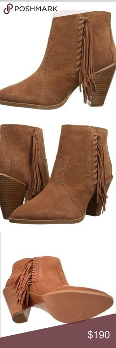 New Coach Suede Fringe Boots NWOB! Gorgeous Suede Fringe boots. These are brand new and in perfect condition.  Zips on the side. No trades Coach Shoes Ankle Boots & Booties