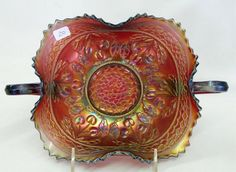 Cherry Circles ruffled bonbon - red - fantastic piece of Carnival Glass, very rare piece to find in red