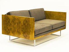 Milo Baughman, Olive Burl Settee (ca. Find Furniture, Modern Furniture, Furniture Design, Milo Baughman, Take A Seat, Mid Century Furniture, Retro, Outdoor Sofa, Decoration