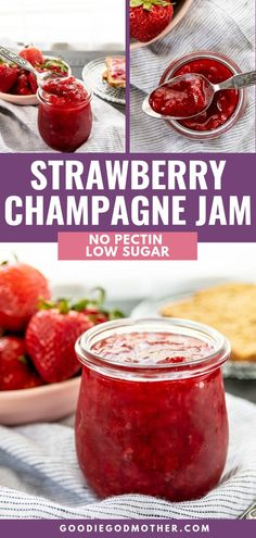 Low sugar no pectin strawberry champagne jam is an incredibly fruity homemade jam recipe you can make in under an hour! Low sugar no pectin strawberry champagne jam is an incredibly fruity homemade jam recipe you can make in under an hour! Low Sugar Strawberry Jam Recipe, Homemade Strawberry Jam, Strawberry Champagne, Strawberry Recipes, Strawberry Jelly, Best Sauce Recipe, Recipe For Jam, Christmas Jam, Canning Recipes