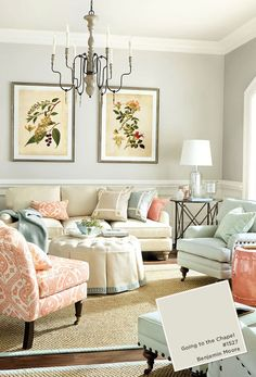 Benjamin Moore Going to the Chapel Living room with coral and blue color palette