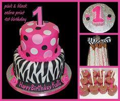 Pink and black zebra print 1st Birthday cake, smash cake and sweets