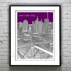 New York City Skyline Art Print Poster NYC Brooklyn Bridge Manhattan Item City Skyline Art, College Graduation Gifts, Great Wedding Gifts, Print Poster, Wedding Guest Book, Soft Furnishings, Brooklyn Bridge, Handmade Art, Holiday Gifts