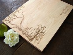 Custom Cutting Board with Tree and Birds by TheCuttingBoardShop