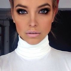 Sultry eyes, nude lips. Source unknown