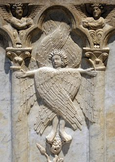 Seraph, from a 14th C. marble sarcophagus. Seraphim are celestial beings of the first hierachy of Angels, with six wings and fiery-red in appearance. This hierachy surrounded God in perpetual adoration.