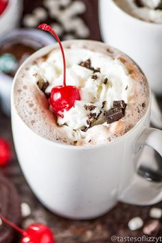 CHOCOLATE COVERED CHERRY HOT CHOCOLATE Rich & creamy chocolate covered cherry hot chocolate. The easiest hot cocoa recipe you'll make! Top with whipped cream and chocolate shavings.