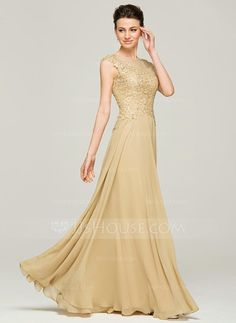 A-Line Princess Scoop Neck Floor-Length Chiffon Lace Mother of the Bride  Dress With Beading Sequins (008062561) c13a01f57466