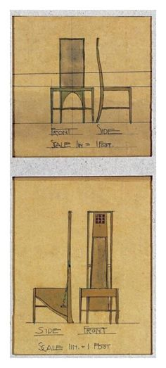 Charles Rennie Mackintosh - Design For Chairs, 1903 Art Print. Explore our collection of Charles Rennie Mackintosh fine art prints, giclees, posters and hand crafted canvas products Charles Rennie Mackintosh Designs, Charles Mackintosh, Mackintosh Chair, Craftsman Furniture, Art Deco Bathroom, Arts And Crafts Furniture, Glasgow School Of Art, Art Nouveau Design, Arts And Crafts Movement