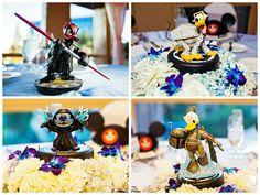 Disney characters meet Star Wars wedding reception decor