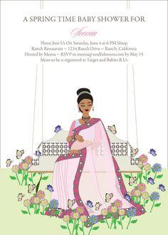Abundance of joy custom godh bharai invitations hens and baby swinging diva indian bridal shower invitations by soulfulmoon stopboris Image collections