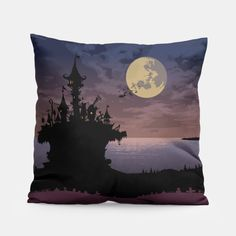 Castle in the night Pillow, Live Heroes Crazy Home, Unique Image, Pillow Design, Castle, Tapestry, Make It Yourself, Pillows, Live, Night