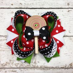 Christmas Lollipop Hair Bow Clip Girl HairBow by cococamila, $10.50