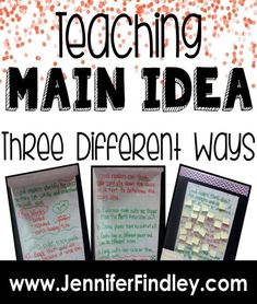 Find some new ways to teach main idea on this post which shares three different approaches to teaching main idea of nonfiction text in upper elementary. Main Idea Lessons, Math Lessons, Main Idea Activities, Teaching Main Idea, Teaching Spanish, 6th Grade Reading, Upper Elementary, Elementary Teaching, Common Core Reading