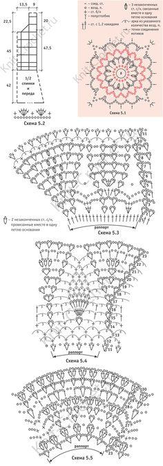 """Padrão, padrões de circuitos com uma descrição de vestidos de crochê motivos quadrados, com uma saia """"queimado"""" tamanho 44-46."""