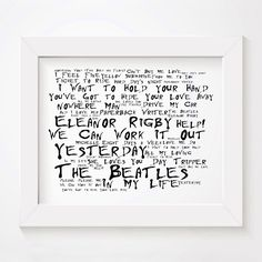 The Beatles limited edition typography lyrics art print, signed and numbered album wall art poster in Noir Paranoic style available from www.lissomeartstudio.com