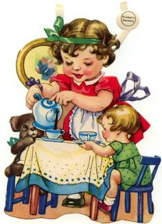 "TEA TIME Who among us has not poured a cup of tea for a favorite doll or teddy bear? A colorful scrap from the 1920s or 1930s, I imagine, since it is marked simply ""Printed in Germany."""