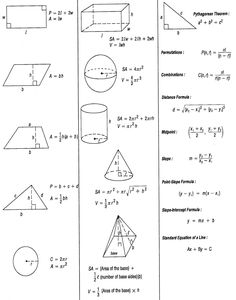 geometric solids formulas reference sheet | Volume and Total ...