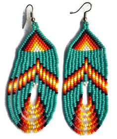 Turquoise Sunrise Hand Beaded Goddess Earrings Unleash the Goddess within by wearing these hand beaded earrings created by local Mayan artisans on Lake Atitlan in Guatemala. Light and comfortable to w