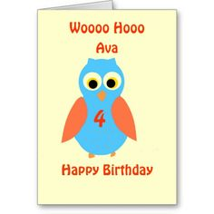Cute Owl customizable Cards add name age front
