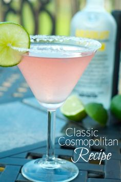 Classic Cosmopolitan Recipe: You only need four ingredients to make the perfect cosmo — citron vodka, triple sec or cointreau, cranberry juice and a lime! Click through for the recipe... Jo Lynne Shane