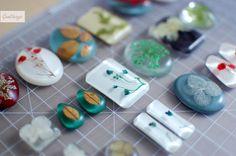 white background, turquoise foreground pendant/earrings - resin