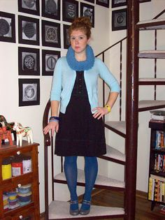 Leap Day William, Blue Cardigan, First Photo, Cowl, Sweaters, How To Wear, Outfits, Black, Dresses