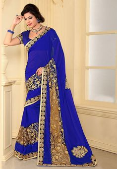 Buy Royal Blue Faux Georgette and Net Saree with Blouse online, work: Embroidered, color: Royal Blue, usage: Party, category: Sarees, fabric: Georgette, price: $56.60, item code: SYZ270, gender: women, brand: Utsav