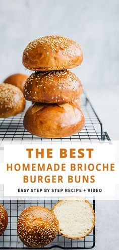 Homemade Burger Brioche Buns are so easy to make. This step by step Burger Bun Recipe and recipe video will help you make the best homemade hamburgers. The buns are soft and sprinkled with sesame. Perfect for a ​housewarming party, picnics, fourth of July Homemade Burger Buns, Homemade Hamburgers, Homemade Rolls, Homemade Bread Buns, Best Burger Buns, Burger Bread, Homemade Brioche, Brioche Recipe, Homemade Vanilla