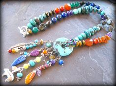Gemstone Beadwork Necklace Sterling Silver por sunrisetreasures
