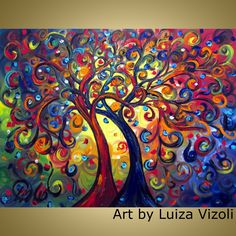 Original Modern Trees Landscape Whimsical XLarge Oil Painting 40x30  HAPPY WITH YOU by Luiza Vizoli. $435.00, via Etsy.