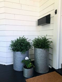 We love these galvanized planters with boxwoods. Come see our curb appeal., We love these galvanized planters with boxwoods. Come see our curb appeal. Mailbox Landscaping, Farmhouse Landscaping, Landscaping Ideas, Patio Ideas, Outdoor Landscaping, Porch Ideas, Hillside Landscaping, Backyard Ideas, Curb Appeal Landscaping