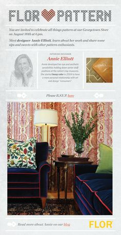 GORG piping!! //Promotional poster for Annie Elliott and FLOR Georgetown showroom; blue velvet sofa with red piping