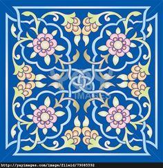 oriental ottoman design one colored