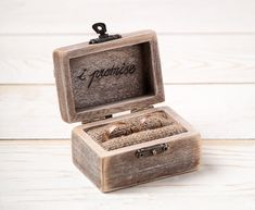 Wedding Ring Box Ring Holder Pillow Bearer Box with Hearts Wooden Engagement Ring Box Burlap and Lace Love Valentine's Day Rustic Unique