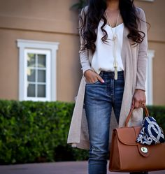 Casual outfit, spring outfit, neutral outfit, long cardigan, camisole, cognac satchel, anchor nautical scarf, petite fashion blog, petite outfits - click the photo for outfit details!