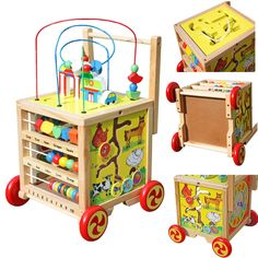 Wooden Learning Bead Maze Cube Activity Center For Child Toys Kids Gift