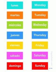 English-Spanish Days of the week ... for Kids .. print  make a game or magnets  - check more on my website