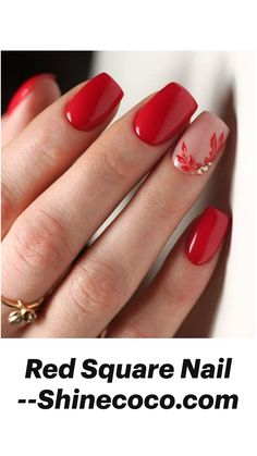 Square Nail Designs, Red Nail Designs, Short Nail Designs, Nail Art Flowers Designs, Gel Manicure Designs, Accent Nail Designs, Popular Nail Designs, Classy Nail Designs, Simple Nail Art Designs