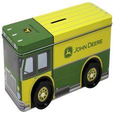 John Deere Truck Tin Bank With Wheels