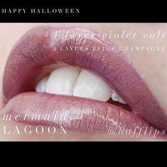 Halloween LipSense Combo - Mermaid Lagoon. 1 Layer Violet Volt, 2 Layers Beige Champagne. To order: www.hoffbeautyco.com
