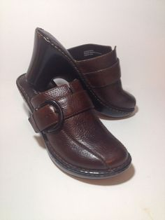 499815268b8 Boc Born Concept Women s Brown Leather Heel Mule Clogs W  Buckle Size 6M US…