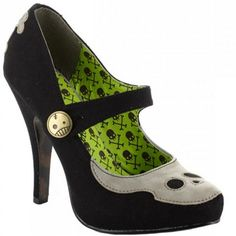 """Necrotic"" Heels by Bettie Page™ Shoes (Black) #InkedShop #heels #maryjane #shoe #shoes #skull #cute #style #fashion"