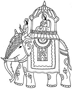 Tamil Cliparts: Printing Line art - 4 ( Wedding and invitations ) Saree Painting, Kalamkari Painting, Madhubani Painting, Fabric Painting, Mysore Painting, Painting Tips, Watercolor Painting, Animal Henna Designs, Indian Elephant Art
