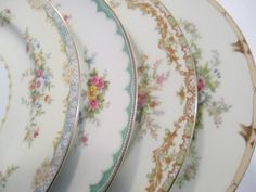 Vintage Mismatched China Dinner Plates for Weddings, Bridal Luncheons, Showers, Tea Parties, Bridal Gift - Set of 4