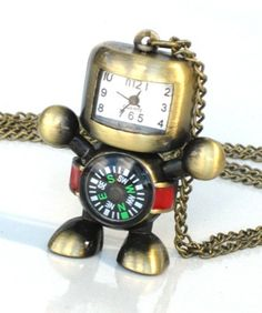 Steampunk Robot Compass Pendant Necklace pocket time piece. Time Flys When... Stylish Steampunk Pocket Watch. This Pendant is defiantly a statement piece. Makes the perfect gift for you or a loved one. Unisex great for men and women.