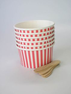 Pink Stripe Ice Cream Cup and Spoon