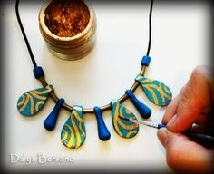 Turquoise Jewelry, Jewelry Set drops, polimer clay, Jewelry Beaded Necklace, Gift For Her, Bronze beads, Gold color